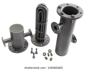 Shell and tube heat exchanger disassembled isolated on white background