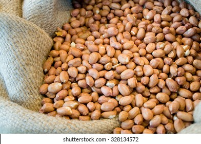 Shelled groundnuts offered in gunnysack