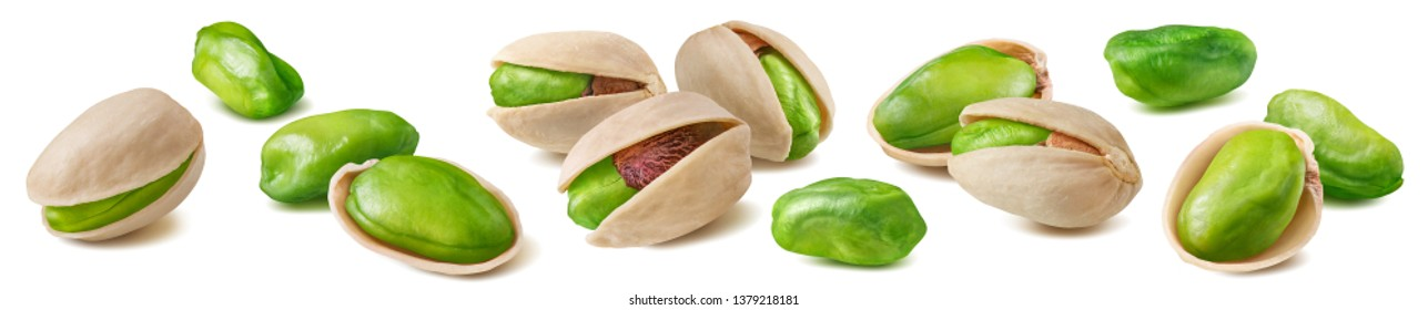 Shelled pistachio nut set isolated on white background. Package design element with clipping path