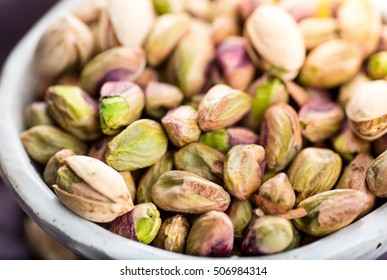 Shelled Pistachio Nuts in Small Bowl