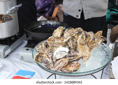 Shelled raw oyster at Outdoor event