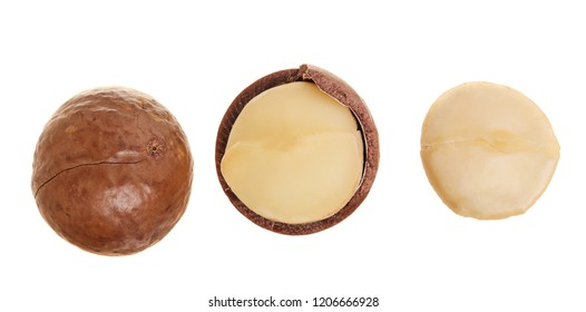 Shelled and unshelled macadamia nuts isolated on white background. Top view. Flat lay pattern
