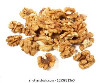 Shelled Walnuts on white Background