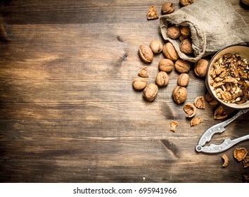 Shelled walnuts. On a wooden table. Top view