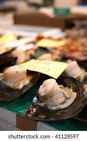 Shellfish at tsukiji fish market in Tokyo, Japan.