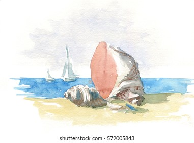 Shells on the beach, watercolor illustration for print, background
