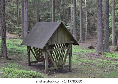 shelter for feeding wildlife, South Bohemia, Czech Republic
