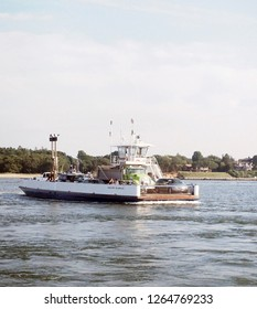 SHELTER ISLAND, NEW YORK-JULY 15: The Shelter Island Ferry boat is seen taking passengers and cars from Sag Harbor to Shelter Island, New York in The Hamptons on July 15, 2018
