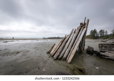 A shelter made from driftwood found on Chesterman Beach on the west coast of Vancouver Island, British Columbia, Canada