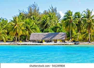 Shelter, shed on a motu, island in Bora Bora, Polynesia