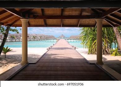Shelter shed and pontoon bridge at tropical resort