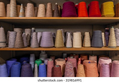 Shelved Yarn Spools