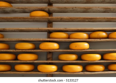 Shelves filled with cheese