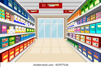Shelves With Goods Background. Supermarket shelves perspective with door at the end of corridor