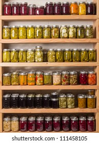 Shelves of homemade preserves and canned goods