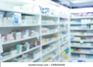 shelves of medicine in pharmacy store