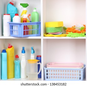 Shelves in pantry with  cleaners for home close-up