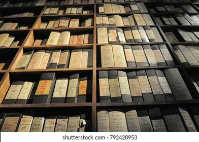 Shelves of paper historical archive Milan Italy circa March 2015