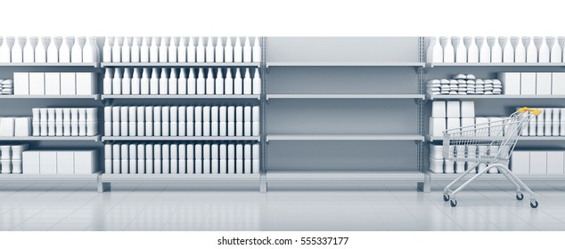 Shelves in the supermarket with cart. 3D rendering