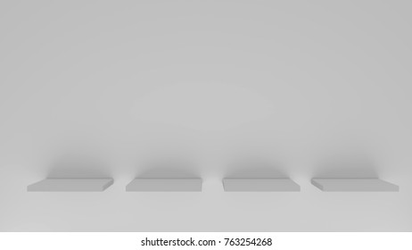 Shelves template on a grey wall background. 3D rendering