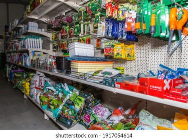 Shelves with various seeds and fertilizers for vegetables in the gardening department in a store in Belarus Minsk January 27, 202. Preparation for spring sowing. agriculture concept..
