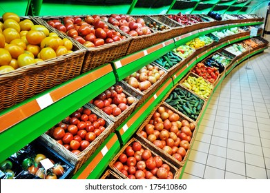shelves with vegetables in a shop