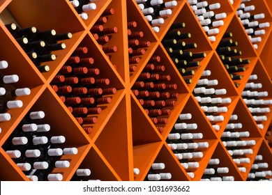 Shelves with wine bottles in a wine store