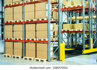Shelving with boxes. Logistics. Responsible storage. Stock. Postage Shipment. Metal rack for storage of goods.