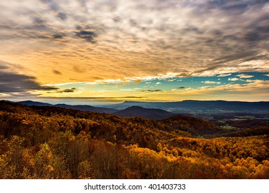 Shenandoah National Park at Sunset in October