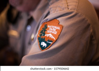 Shenandoah National Park, USA - September 16 2019: Close-up of a Badge with the Logo of the National Park Service on a Shirt of a Ranger - with Copyspace