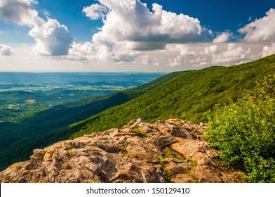 The Shenandoah Valley and Blue Ridge from Crescent Rock in Shenandoah National Park, VA.