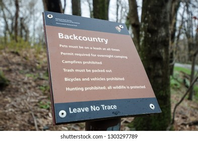 Shenandoah, Virginia - April 1, 2018: Sign from the National Park Service inside Shenandoah National Park explains the rules of the backcountry