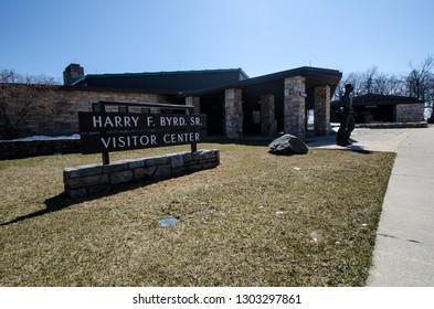 Shenandoah, Virginia - April 1, 2018: Exterior of the Harry F Byrd Visitors Center in Shenandoah National Park during early spring