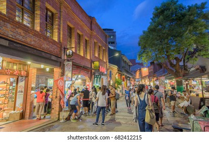 Shenkeng, Taiwn- July 22, 2017 - The famous Shenkeng Old Street at Shenkeng Village, New Taipei City, Taipei, Taiwan. Here is famous by tofu food, famous Taiwan tourist attraction.