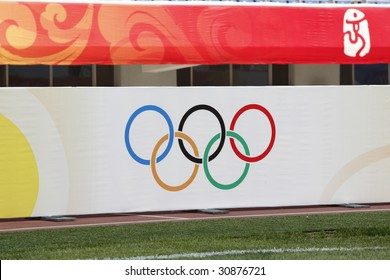 SHENYANG, CHINA - AUGUST 9:  The Olympic Rings are displayed in Shenyang Olympic Sports Center Stadium prior to a soccer match at the Beijing Olympic Games August 9, 2008 in Shenyang, China.