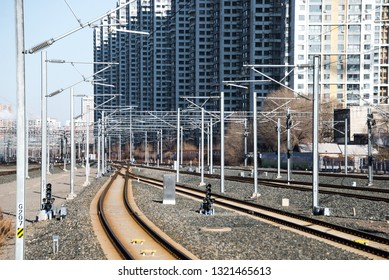SHENYANG, CHINA - DEC 29, 2018: The rail way of Highspeed train at Shenyang Railway Station in China has the world's longest high-speed rail network with 9,676 km (6,012 mi) of routes in service.