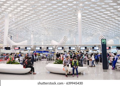 SHENZEN, CHINA - APRIL 24, 2017: Shenzhen Bao'an International Airport. It is one of the three largest airport hubs serving the Pearl River Delta urbanised area in southern China