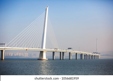 Shenzhen Bay Bridge under the blue sky,  cable-stayed bridge from Shenzhen to Hong Kong with highway