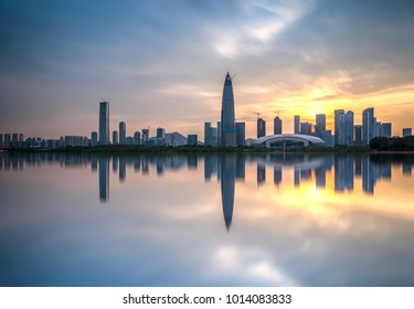 Shenzhen Bay skyline at dusk
