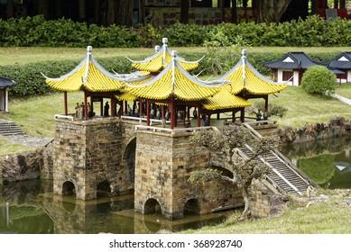 Shenzhen, China - 14 January, 2016 - Shenzhen Splendid China Folk Village theme park. Miniature bridge