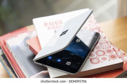Shenzhen, China - 15 October 2020: Microsoft Surface Duo