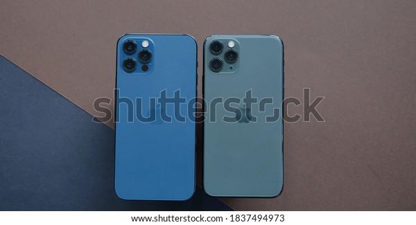 Shenzhen, China - 20 October 2020: iPhone 12 Pro vs iPhone 11 Pro