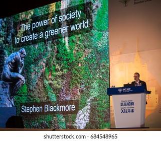 Shenzhen, China –July 23, 2017: British botanist Stephen Blackmore made a speech about create a greener world during the XIX International Botanical Congress in Shenzhen, Guangdong, China.