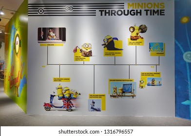 SHENZHEN, CHINA -23 DEC 2018- View of the Despicable Me: Minions' Perspective exhibit at OCT Harbor in Shenzhen, Guangdong, China.