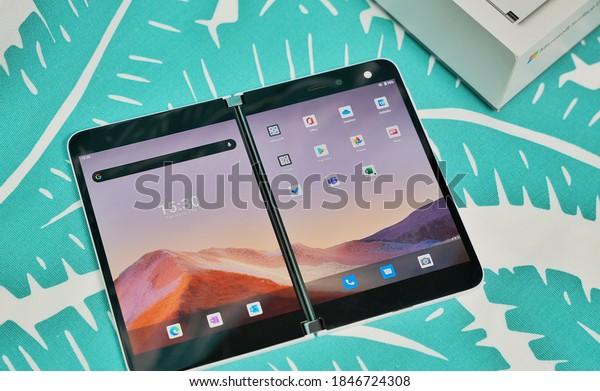 Shenzhen, China - 3 November 2020: Microsoft Surface Duo