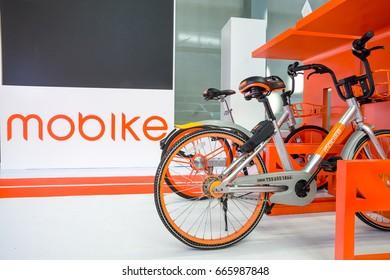 "Shenzhen, China –June 6, 2017: The bicycles of ""Mobike"" on display during the 2017 Shenzhen-HongKong-Macao International Auto Show in Shenzhen, Guangdong, China."
