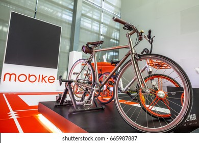 """Shenzhen, China –June 6, 2017: The titanium alloy variable speed concept bicycle of """"Mobike"""" on display during the 2017 Shenzhen-HongKong-Macao International Auto Show in Shenzhen, Guangdong, China."""