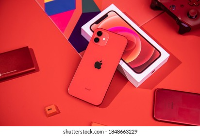 Shenzhen, China - 6 November 2020: iPhone 12 in red color