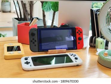 Shenzhen, China - 6 September 2020: Nintendo Switch and Nintendo Switch Lite