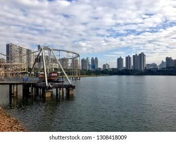 Shenzhen China abandoned swinging pirate ship ride Honey Lake